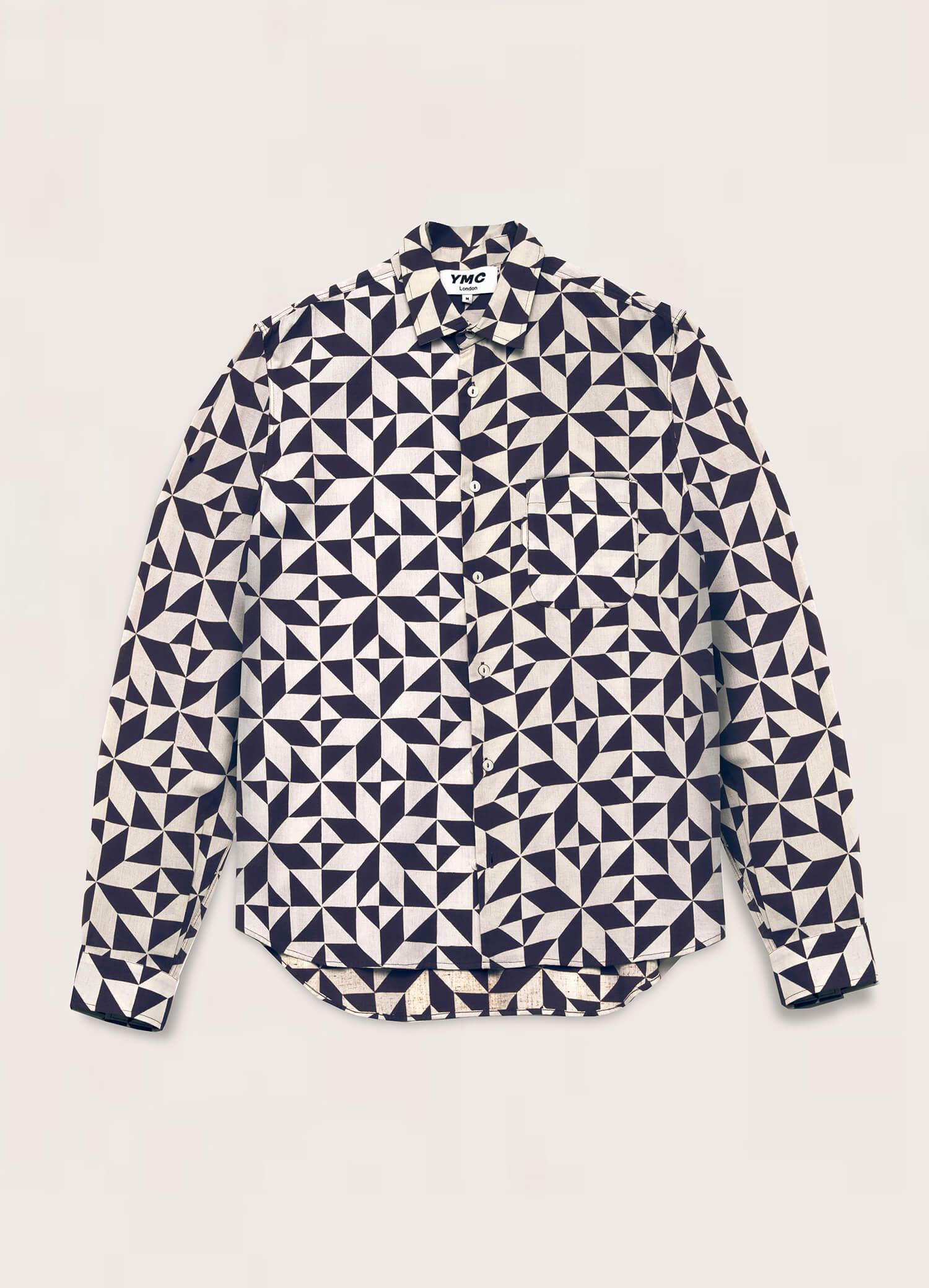 Curtis Cotton Flax Star Tile Print Shirt Blue