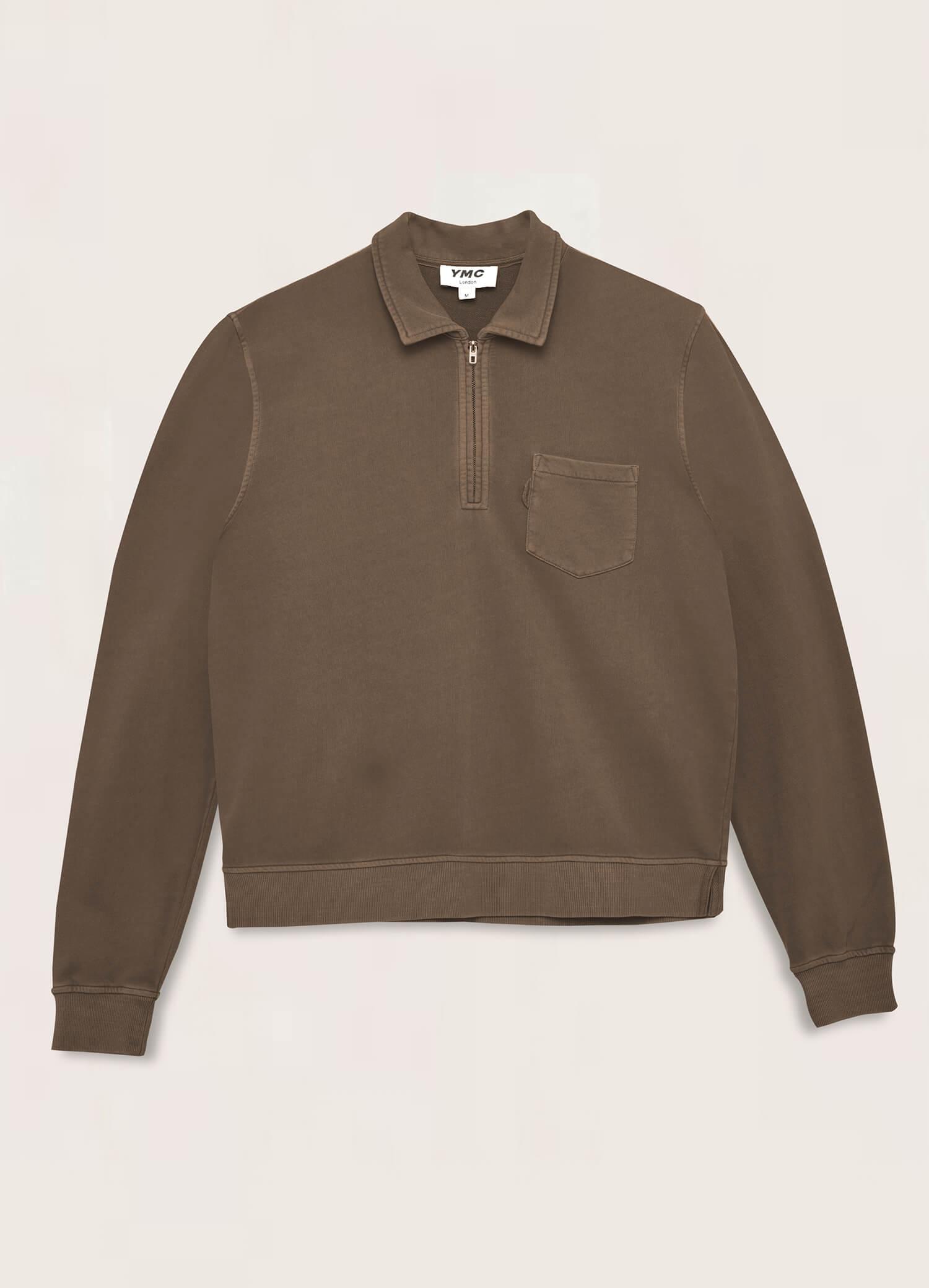Sugden Cotton Loopback Zip Sweatshirt Dark Olive