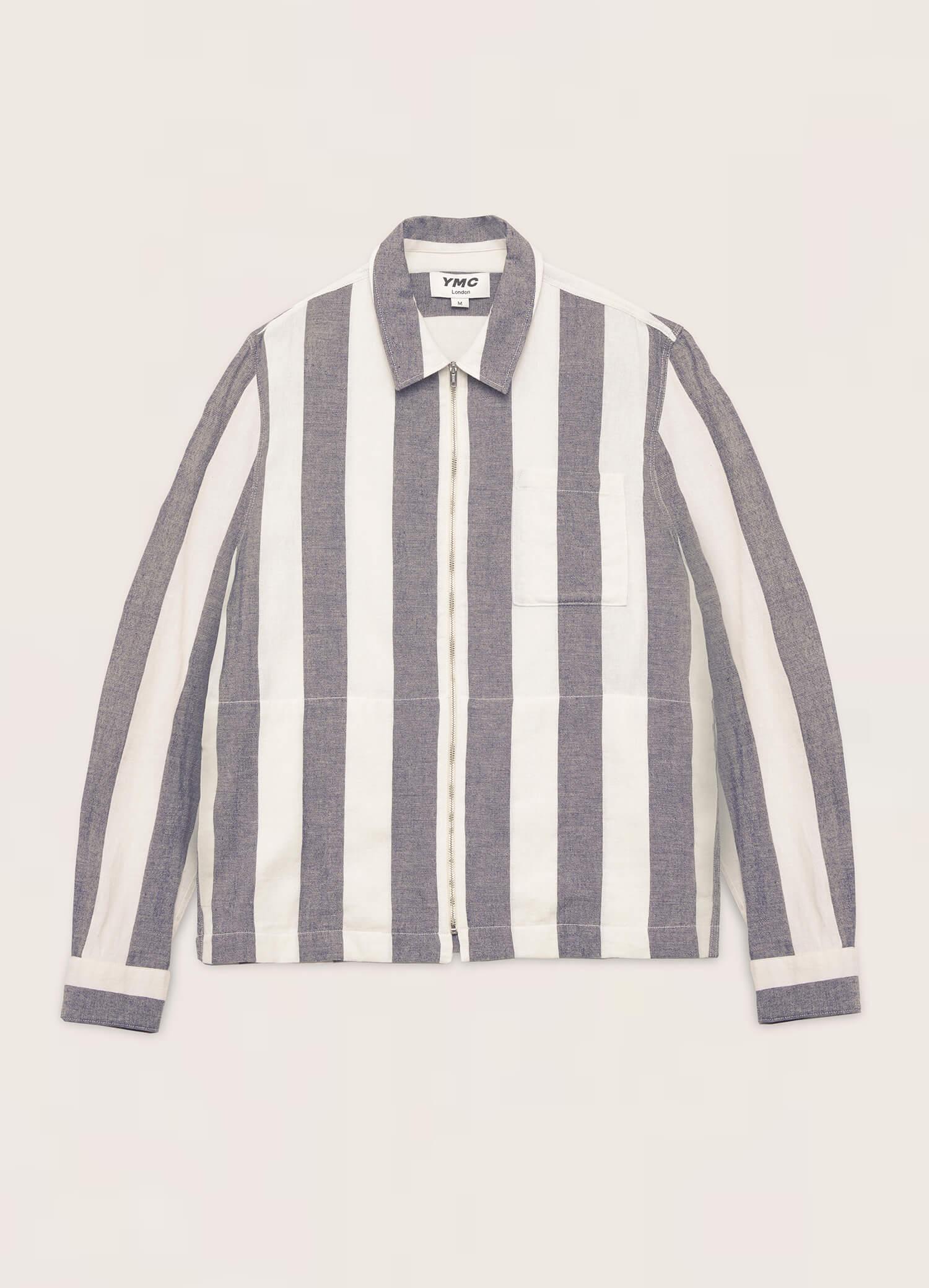Bowie Cotton Linen Stripe Zip Shirt Blue