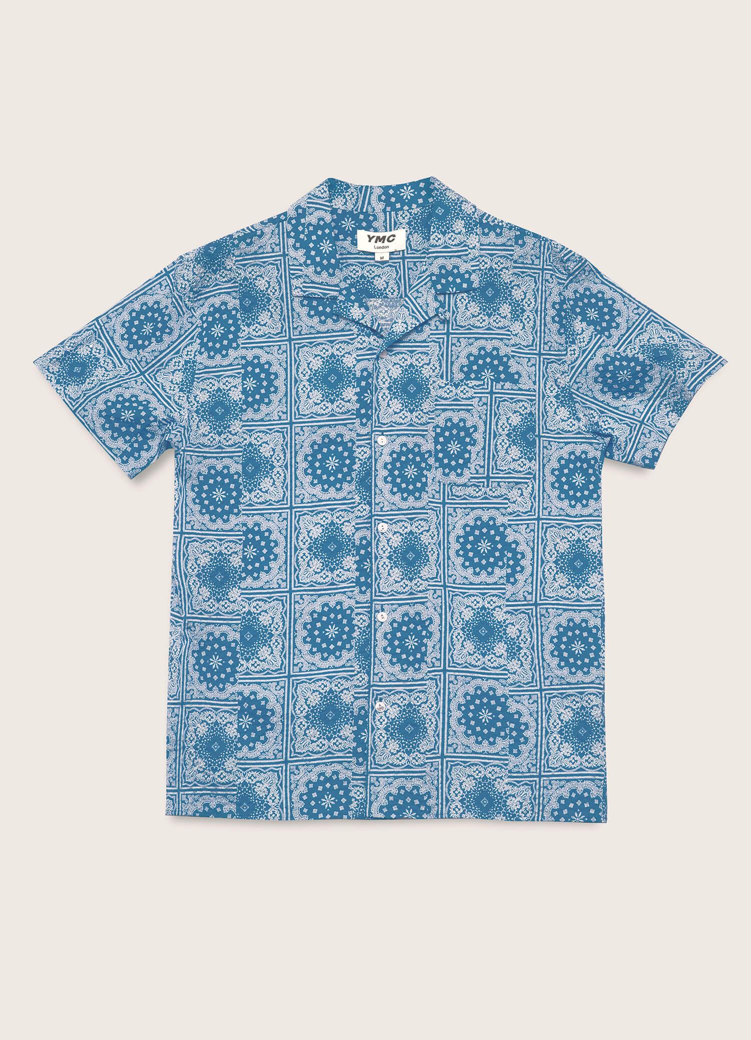 Malick Cotton Bandana Print Shirt Blue
