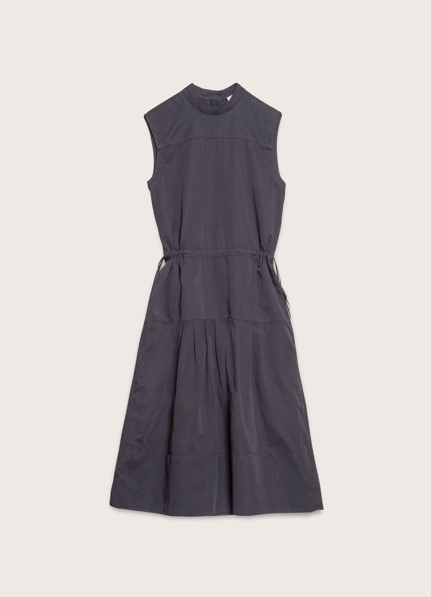 Temple Cotton Linen Dress Navy