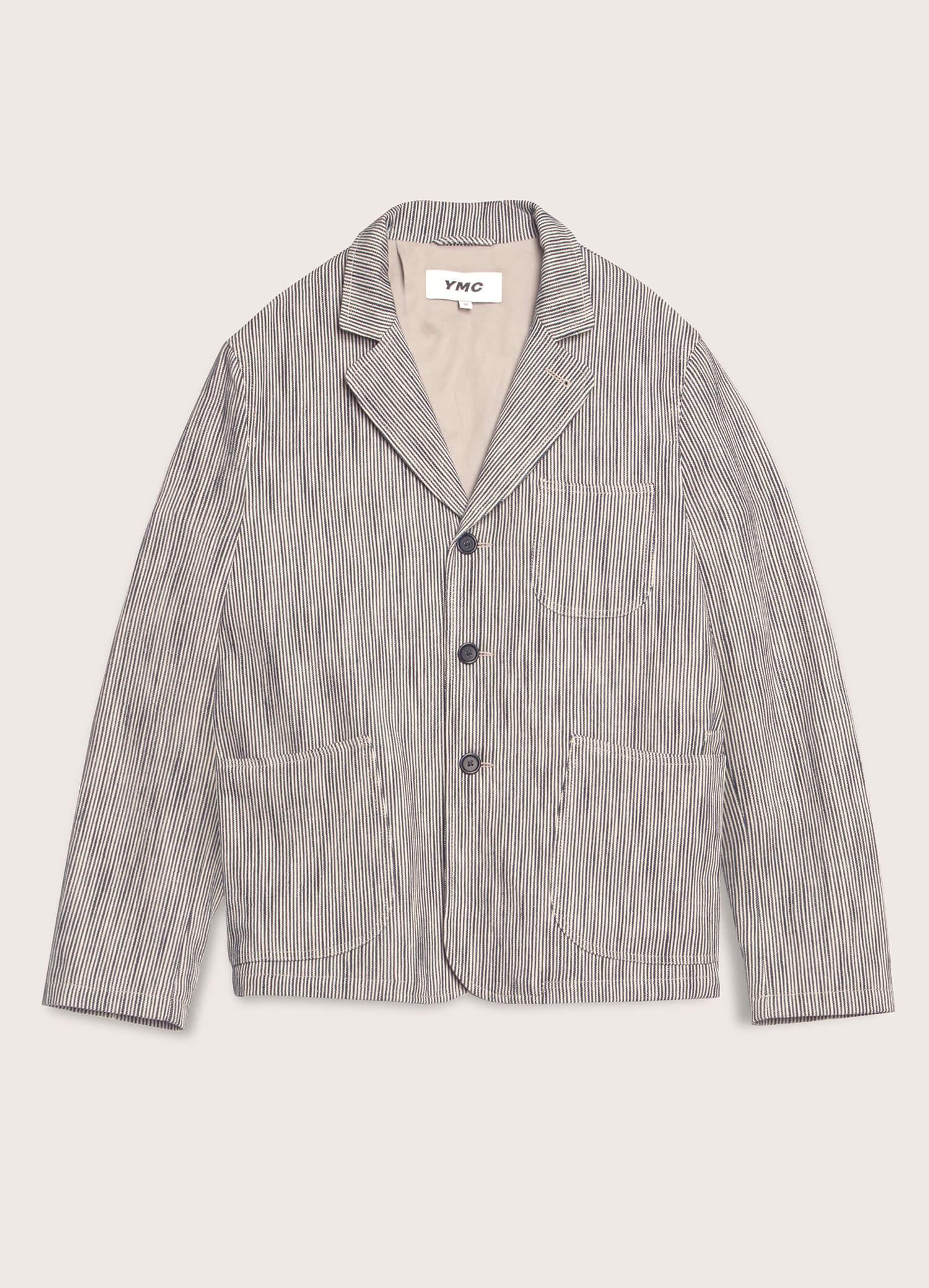 Scuttlers Cotton Linen Hickory Stripe Jacket Navy