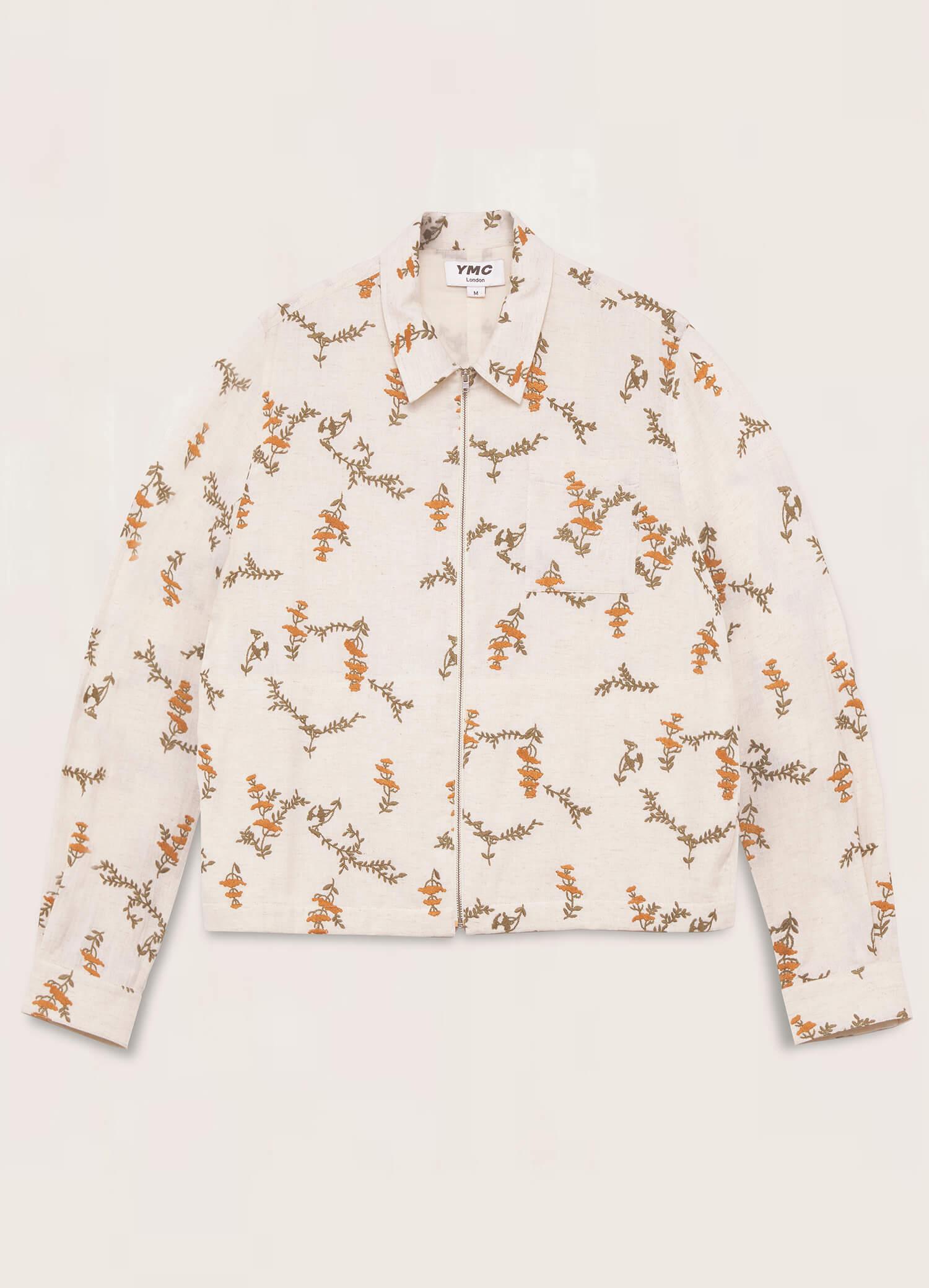 Bowie Cotton Flax Zip Shirt Ecru