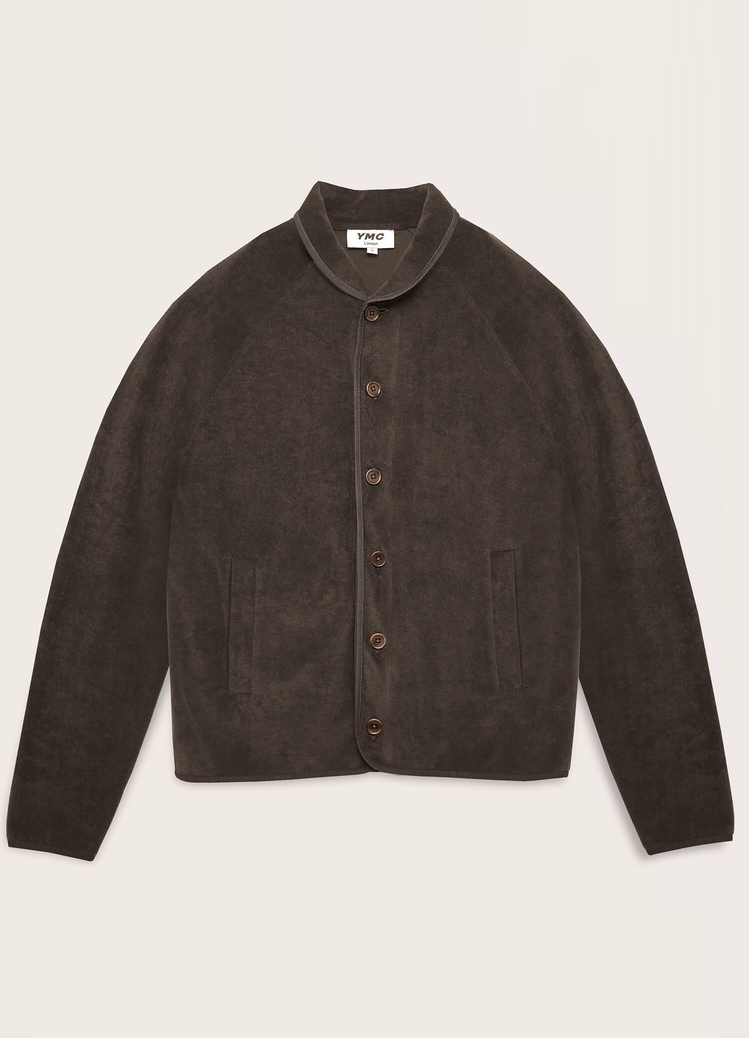 Beach Cotton Towelling Jacket Black Olive