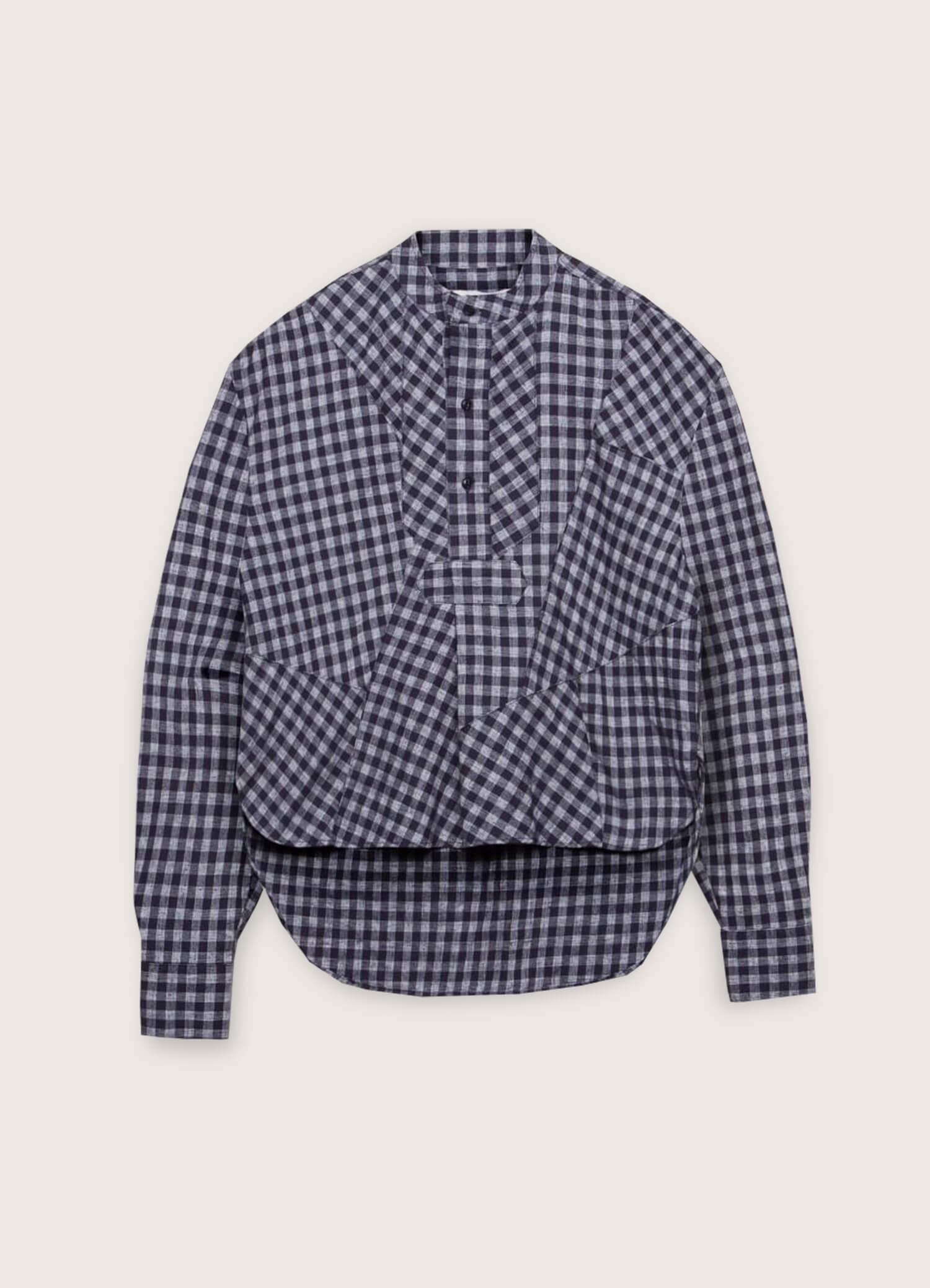 Juju Linen Cotton Patchwork Check Shirt Navy